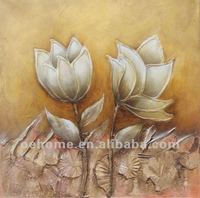 Handmade yellow flower oil painting on canvas