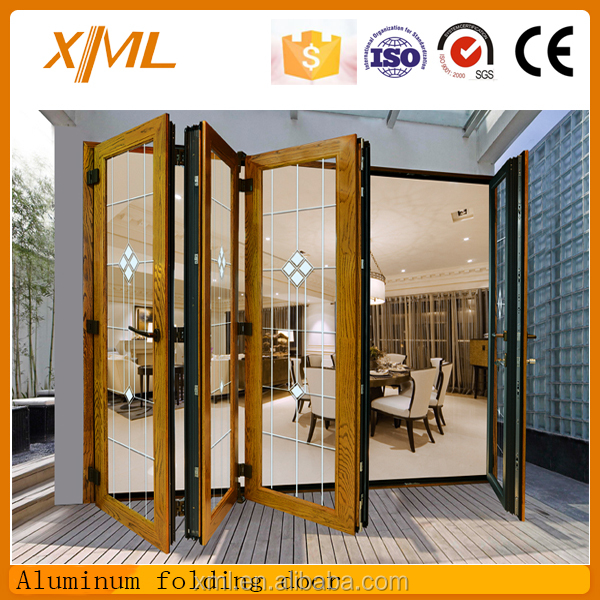 2016 new design space saving aluminum double glass folding for Door new design 2016