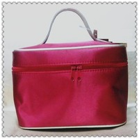 Satin with metallic PVC piping soft cosmetic case CB-0464