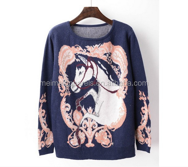 Autumn outfit knitted jumper with horse pattern fashion retro style pullover for lady