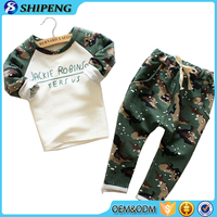 2016 newest design Children clothing sets 100% cotton long sleeve boys camouflage clothing sets kids baba suit