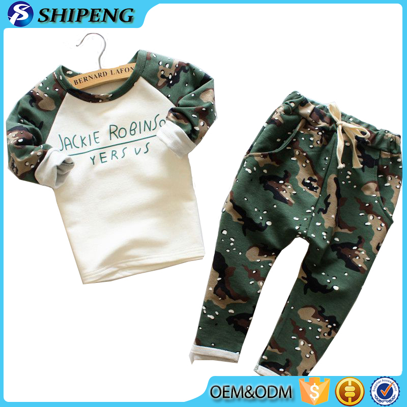 2017 newest design boys camouflage long sleeve cotton printed children clothing