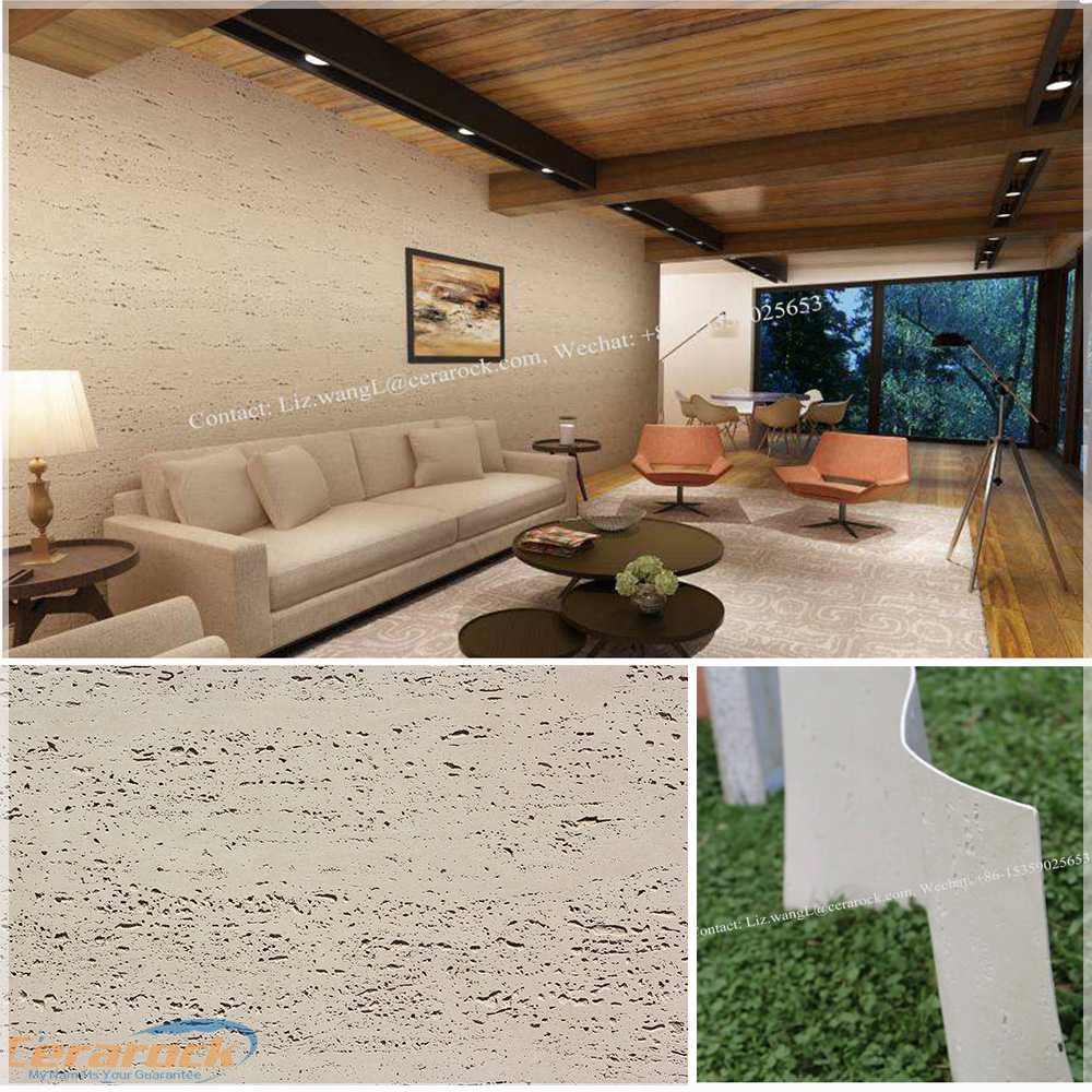 New tech interior and exterior flexible ceramic tile, curved wall stone veneer - travertine