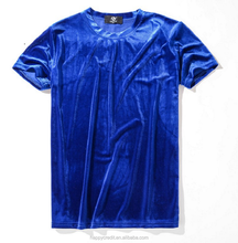 Cheap Wholesale Round Neck Short Sleeve Plain Blank Blue Silk Velvet <strong>Men</strong> T Shirts