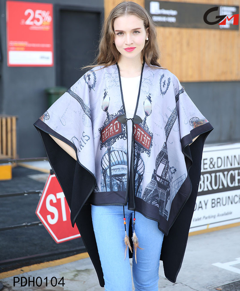 PU hemming long over sized pullover 2016 kint nice printing sweater poncho