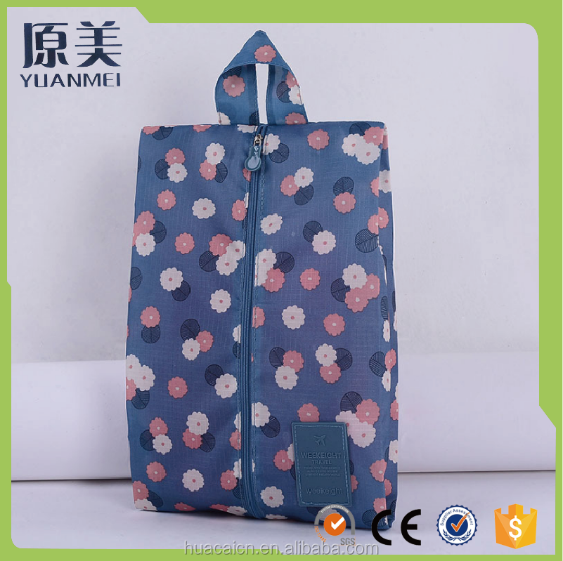 New arrival Low Price Travel Zipper Shoe Storage Bags Flower Printing Shoe Bag For Young Women And Men