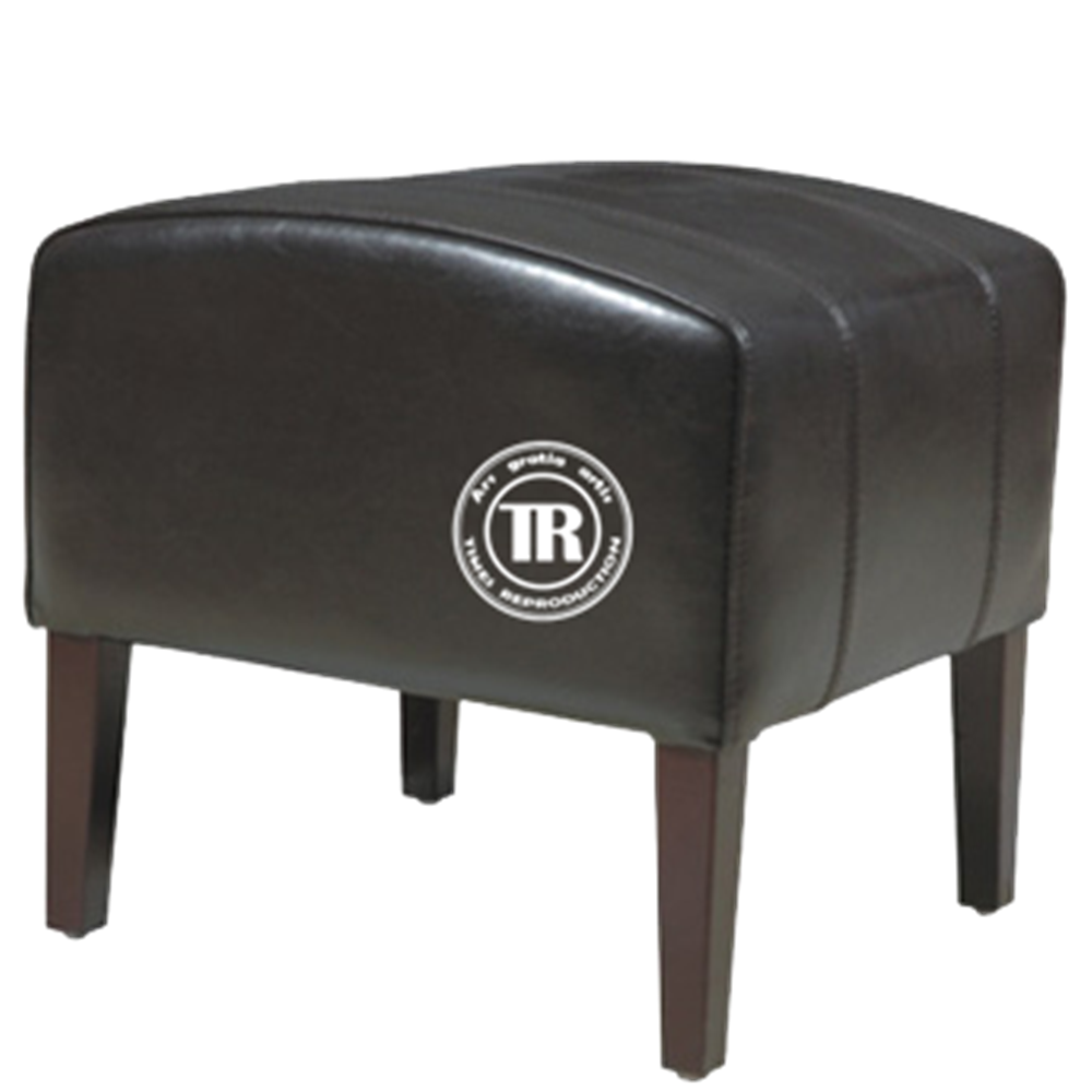 Black Leather Ottoman Footstool,Wood leg Leather Stool, Foldable Stool