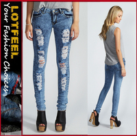 Acid Wash Ripped Skinny Jeans for women (LOTX084)