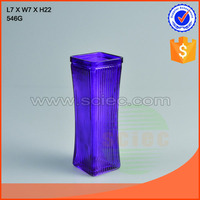 elegant purple glass vase with stripe vertical stripes