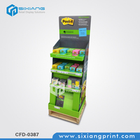 Green free standing paper merchandise pos advertising display for the sticky notes