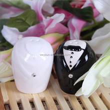 Wedding favors and wedding gifts-- Bride and Groom Salt and Pepper Shakers formal dress ceramic Salt and Pepper Shaker
