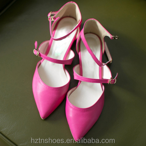 2014 Sexy Spring Summer Woman Shoes Pointed Toe Hot Pink Black Ankle Strap Flat Shoes