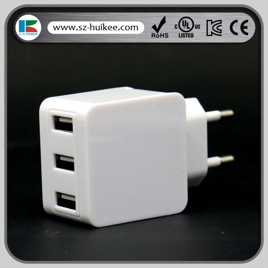 travel usb charger 5V 3.1A 3 port usb wall chargr with CE FCC RoHS certification for mobile phone