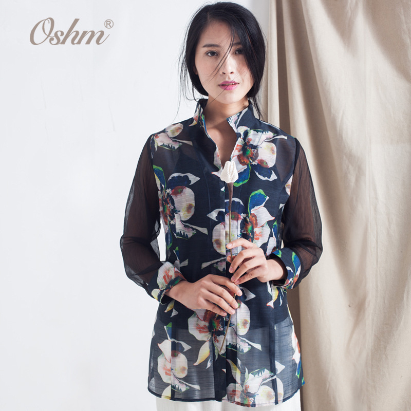 Sublimation technical flax designs women clothing fancy blouse