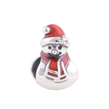 S372 Merry Christmas Snowman Design 925 Sterling Silver Beads Charm