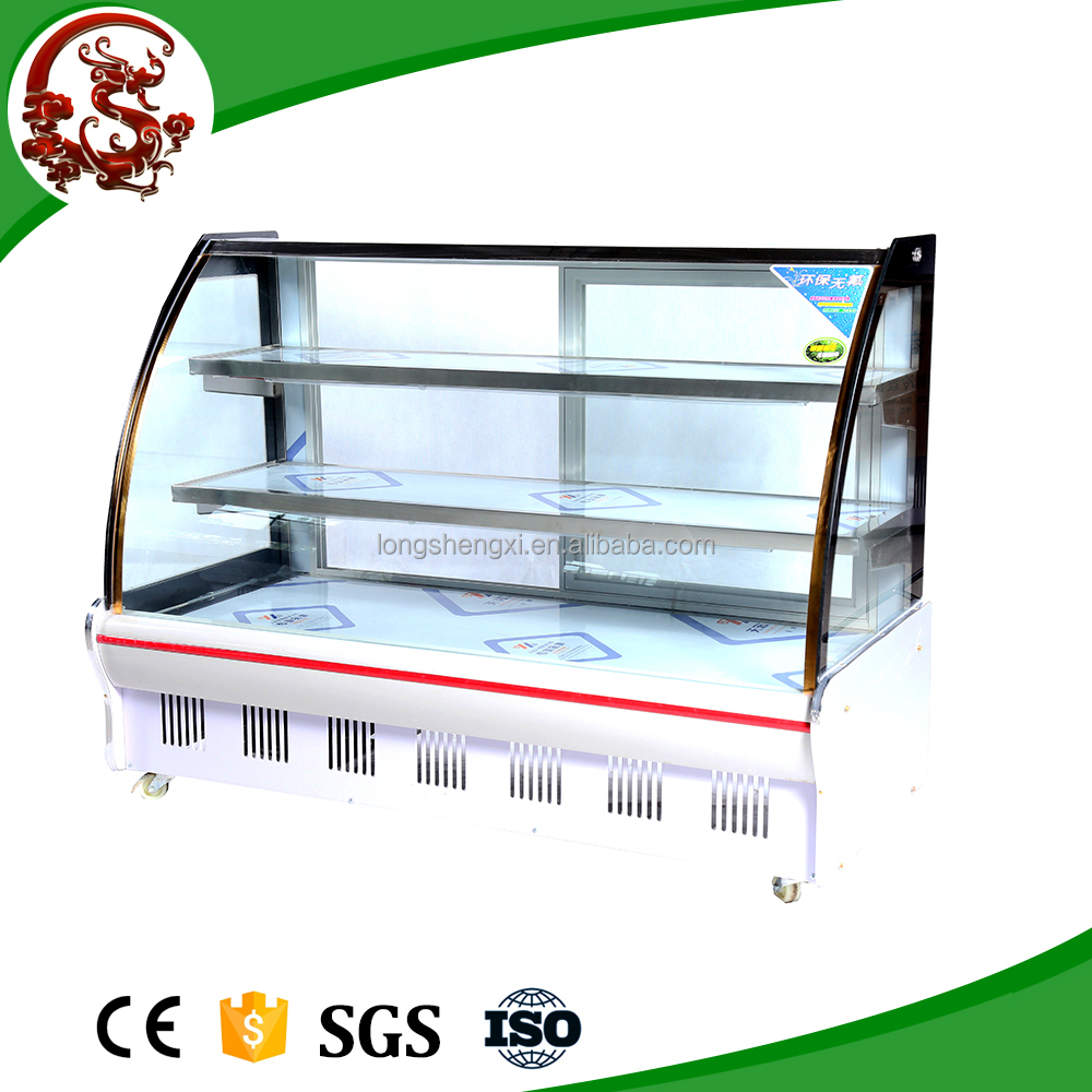 Commercial horizontal arc fruits and vegetable display with glass door