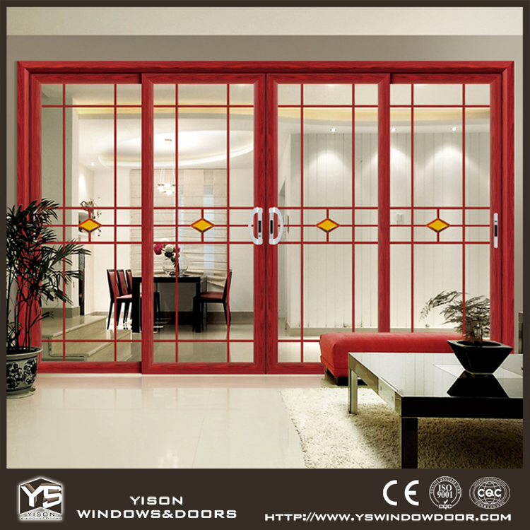 Factory price good quality double tempered glass aluminium sliding door
