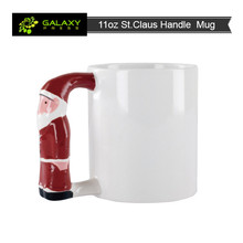 11 oz ceramic mug Blank Sublimation mugs with St. Claus Handle for sublimation