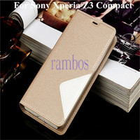 Leather Case Cover Flip Stand Cell Phone Cases Mobile Phone Bags for Sony Xperia Z3 Compact / Z3 Mini