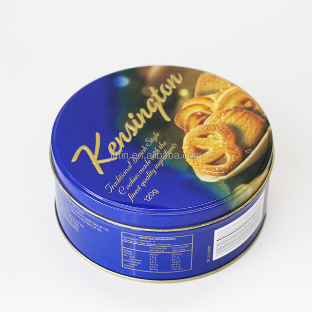 Hot selling food grade empty embossed round biscuit metal cans