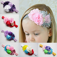 colored rose flower pattern hair bands 3 flowers with pearl style girls hair accessories hair accessories for baby girls