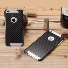 Newest Cut Out Design Glossy Black Carbon Fibre Cell Phone Cases, for iPhone 6 6S Carbon Fiber Mobile Phone Bags