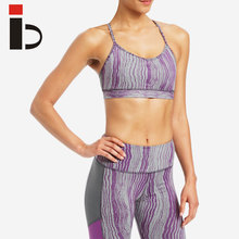 Heather color strappy women sports bras comfortable running yoga bras