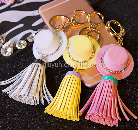 Luxury Leather Keychain Gold Plated Hat Tassel Key Chains Crystal Fur Ball Keychain Key Chain Bag Charm Keyring Key Holder