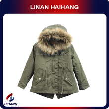 China best manufacturer fur hood woven kids winter jackets boys