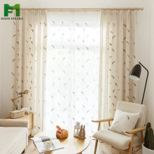 Ready made natural curtains thick chenille microfiber fabric printed blackout curtain