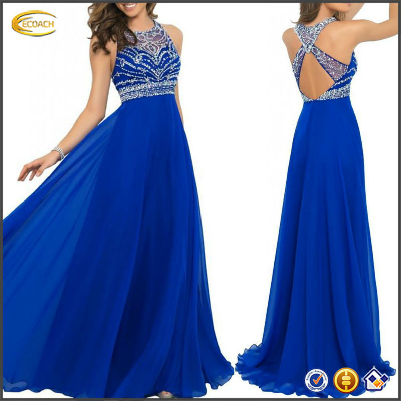 OEM wholesale 2015 Gorgeous A-line Floor Length Chiffon long royal blue prom dresses