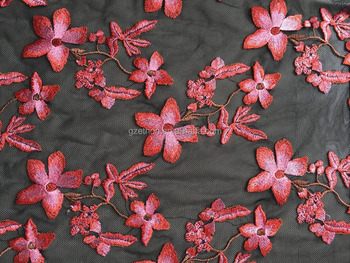 Pink color flower wedding dress fabric 100% nylon mesh multi color Swiss embroidery lace fabric