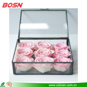 Simple and elegant clear acrylic rose box wedding gift for sale