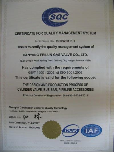 CERTIFICATE FOR QUALITY MANAGEMENT SYSTEM
