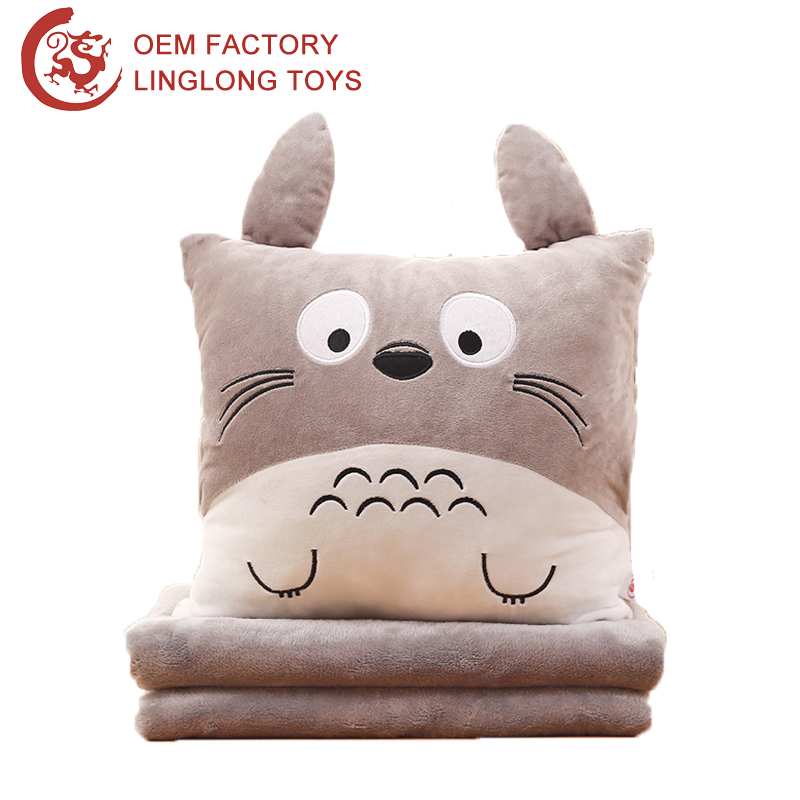 Winter Warm Plush Travel Pillow Blanket Home Textile Gray Square Cushion With Sheet Plush Pillow With Totoro Pattern Blanket