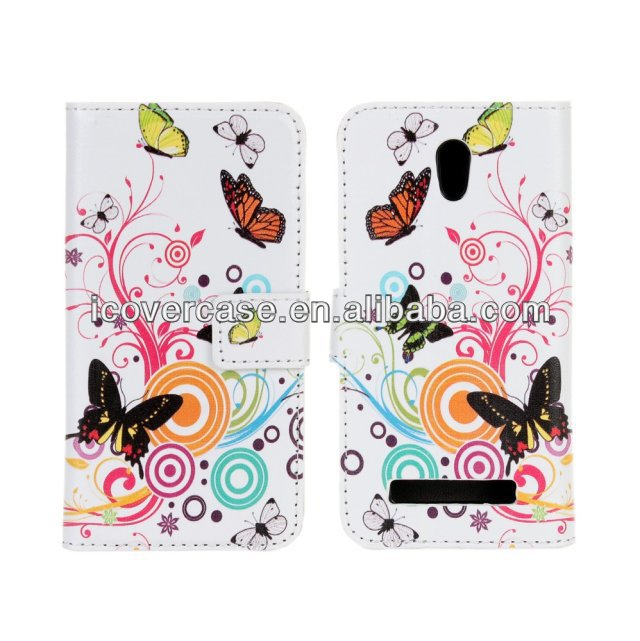 Artistic Flower Skin Wallet Leather Flip Phone Case For HTC Desire 500 506e