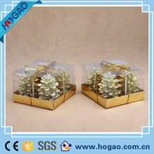 Christmas tree shaped gold candle for decoration with PVC box