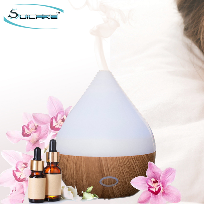 SOICARE 150ml Mini wood grain ultrasonic essential oil aroma diffuser