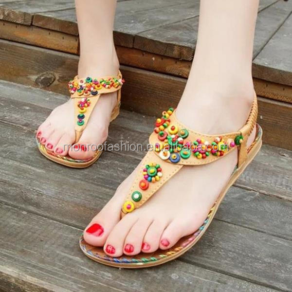 Monroo latest women sandals shoes ladies flat beaded beach sandals