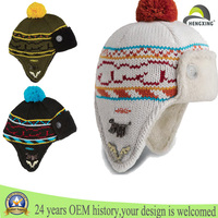 Custom knitted beanie pom pom beanie hats knitted beanie hats with ear flaps