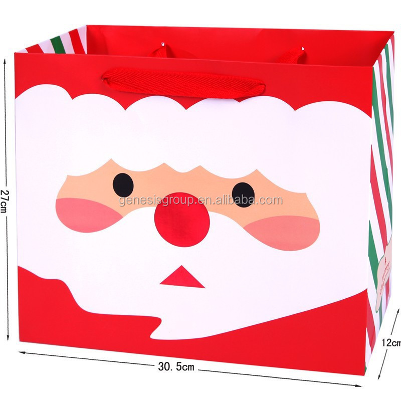 high quality christmas decorate gift paper bag made in China