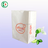 Take away fast food kraft paper packaging bag with square bottom