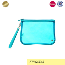 Large Flat Fluorescent Blue Cosmetic Pouch Bag Wristlet