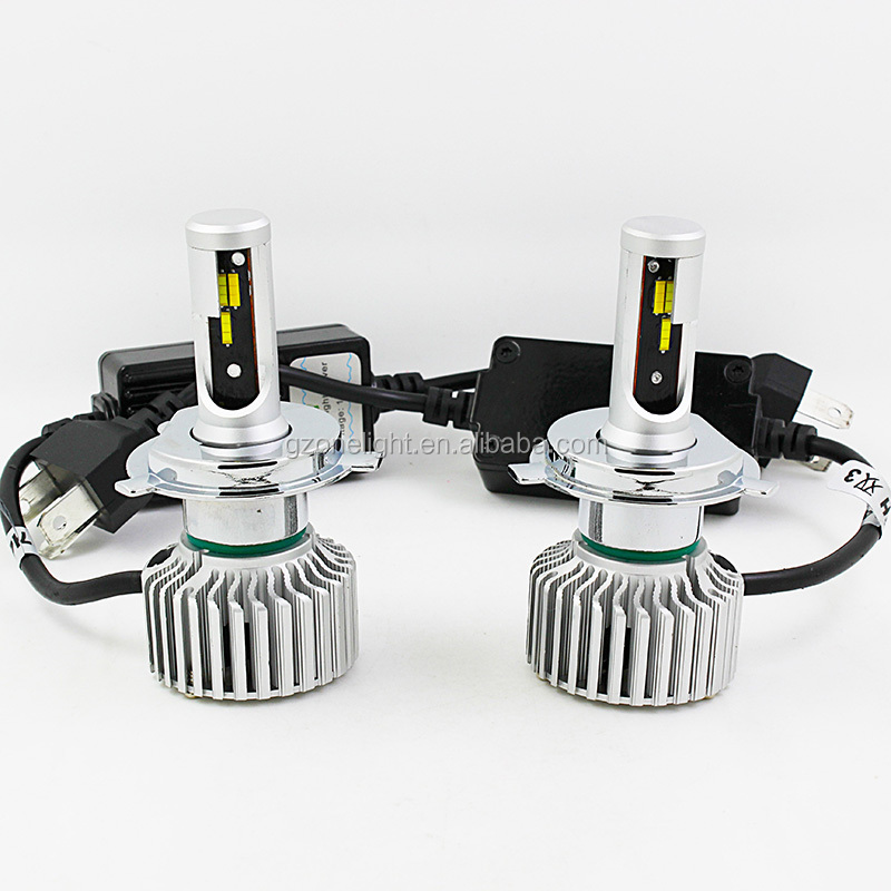 Factory Auto Part car dual color led headlight fanless CSP 6000lm h4 led headlight 40W