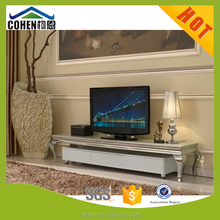 modern simple style stainless steel base marble top living room tv stand unit