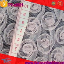 customized chiffon microfiber polyester wholesale 3d flower embroidery fabric