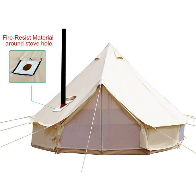 Glamping Luxury 6m 5m 4m waterproof Canvas Bell <strong>Tent</strong> With Chimney Hole