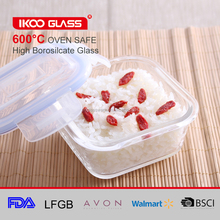 Square pyrex microwave glass food warmer storage container with airtight lid
