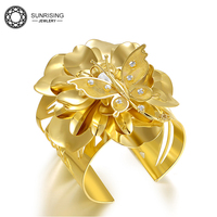 Butterfly flower gold plated crystal opening hollow bangle