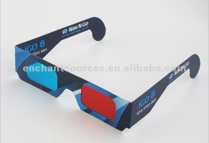 2015 Promotional 3D anaglyph glasses paper frame/customized logo/small order is acceptable